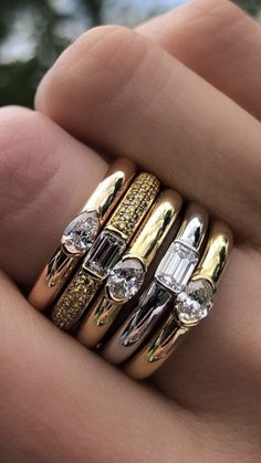 stack 'em up Wedding Jewelry, Gold Jewelry, Jewelery, Jewelry Accessories, Jewelry Design, Wedding Rings, Coin Ring, Diamond Are A Girls Best Friend, Beautiful Rings