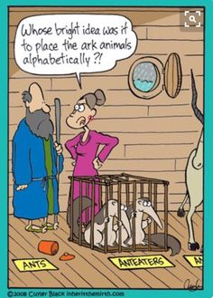 Who's idea was it to place animals alphabetically - Melissa Green - karikatur Christian Comics, Christian Cartoons, Christian Humor, Funny Christian Jokes, Funny Cartoons, Funny Comics, Funny Jokes, Hilarious, Sarkastischer Humor