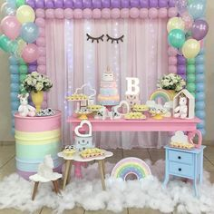 Unicorn Party More decorating ideas on album: Unicorn Party 1 Unicorn Themed Birthday Party, Rainbow Birthday, Baby Birthday, First Birthday Parties, Birthday Party Decorations, First Birthdays, Party Unicorn, Birthday Ideas, Décoration Baby Shower