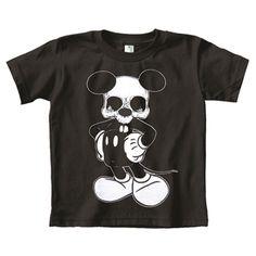 Little Kids' Mikey Mouse Skull Organic Cotton Tattoo Tee T Shirt Top