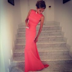 Dress: coral floor length evening gown prom