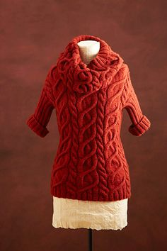 Cabled Pullover And Cowl | Lion Brand | Gorgeous!  Think I'd make this in a mossy green color.