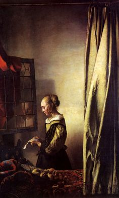"""A girl reading a letter by an open window"" (c. 1657 - By Johannes Vermeer, from Delft, Netherlands - - oil on canvas; 83 x cm; 32 x 25 in - © Gemäldegalerie Alte Meister, Dresden, Germany Johannes Vermeer, Rembrandt, Girl Reading, Vermeer Paintings, Oil Paintings, Realistic Paintings, Google Art Project, Dutch Painters, Open Window"