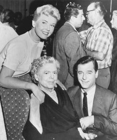 """Doris and Gig Young celebrate Ethel Barrymore's 75th Birthday on the set of """"Young At Heart""""."""