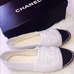 CHANEL ESPADRILLES CHANEL espadrilles linen shoes. BEIGE/BLACK Purchased at Barney's New York in Beverly Hills, Ca. These are sold out everywhere! They are in mint condition, I wore them once and they're really comfortable. They do fit a little snug because of the material but they are a size 8. They come with the original box and dust bags. 100% AUTHENTIC. NO TRADES PLEASE. Reasonable offers will be accepted. XOXO CHANEL Shoes Espadrilles
