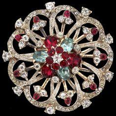 8bb9902154f Vintage CORO CRAFT Sterling Vermeil Ruby Aqua Crystal Rhinestone Pinwheel Brooch  Pin