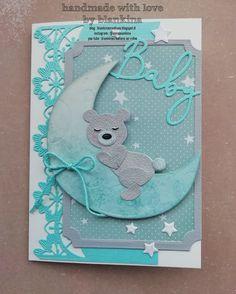 Blankina creations: Baby card Marianne Design Distress Oxides, A4 Paper, Marianne Design, Baby Cards, Baby Blue, Good Morning, Hug, Boy Or Girl, Card Stock