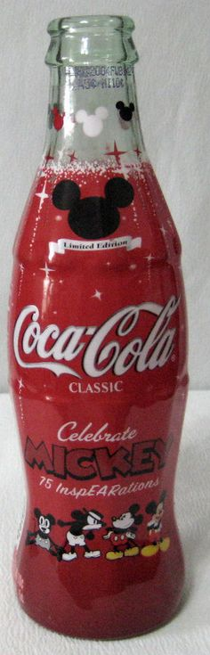 Coca Cola Mickey Mouse Bottle Limited Edition <<< give to me please it's so cute Coca Cola Bottles, Pepsi Cola, Coke Ad, Mickey Mouse, Coca Cola Addiction, Coca Cola Light, Coca Cola Kitchen, Cocoa Cola, Sodas