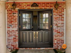 """AFTER:  Classic styled 34"""" Fiberglass Double Dutch Entry Doors with half glass, 9 lite clear dual pane. Plastpro Model DRS40 with split finish. Copper Creek hardware. Installed in Newport Beach, CA home."""