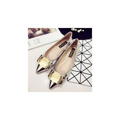 Metal Buckle Pointy Patent Flats (300 HRK) ❤ liked on Polyvore featuring shoes, flats, footware, pointed shoes, pointed-toe flats, pointy shoes, patent flat shoes and flat patent leather shoes