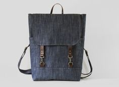 Unisex, Indigo Denim Backpack , laptop bag(up to school bag, diaper bag with leather closure and 2 front pocket, Design by BagyBags Denim Backpack, Diaper Backpack, Laptop Backpack, Leather Backpack, Diaper Bags, Ipod, Painted Bags, Purse Patterns, Unisex