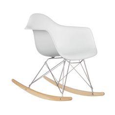 Modern Ash Wood Rocker in White