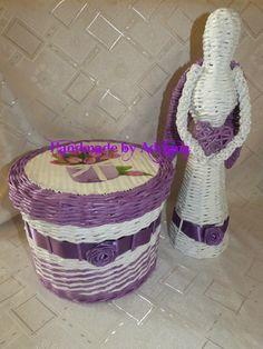 Košiček a anjeliček.. fialovo-biely.. Laundry Basket, Wicker Baskets, Organization, Home Decor, Getting Organized, Organisation, Decoration Home, Room Decor, Tejidos