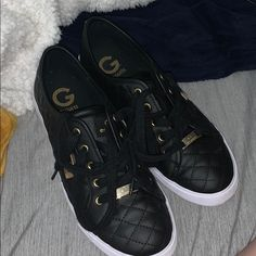 Only Worn Once! Completely Forgot I Had Them &Just Now Found Them! Comfortable Shoes And Look Cute With Anything Color Black, Black And White, Guess Shoes, Comfortable Shoes, Sneakers, Cute, Things To Sell, Products, Fashion
