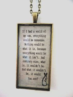 Personalized Quote Resin Pendant Necklace on Vintage Brass Chain. $25.00, via Etsy.