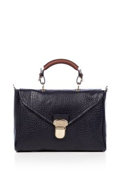 Mulberry Midnight Navy Polly Push Lock with Shoulder Strap in Black (midnight)
