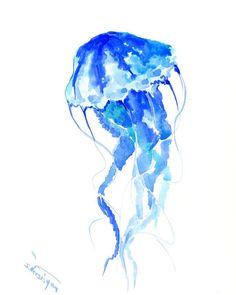 Turuqoise, Blue ultramarine Jellyfish, original watercolor art, blue indigo purple violet painting 10 x 8 blue red