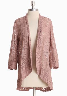 "Rose Petals Lace Cardigan 48.99 at shopruche.com. This sheer cotton-blend cardigan in dusty rose is crafted with three-quarter length sleeves, a soft texture, and a shawl collar.80% Cotton, 20% Nylon, Imported, 25.75"" length from top of shoulder"