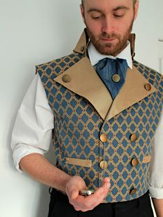 The Thornhill - Steampunk Wedding Men's Double Breasted Waistcoat in Blue