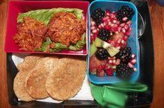 sweet potato crisps stuffed w/ egg whites, bacon & parmesan, garlic pumpkin toast & fruit salad
