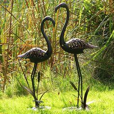 Cranes stainless steel sculpture
