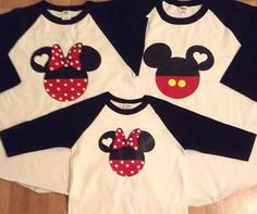 Mickey and Minnie Family Set of 3. This item comes with 3 shirts . This set can be personalized for FREE name and or date only.    SIZE CHART FOR