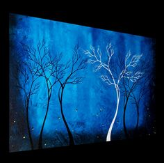 Original Tree Painting Abstract Landscape by BestArtStudios2 #art #cobalt