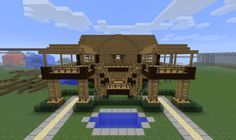 Stilt house - Front view with water pond - Backslashdotcom's Creative Server Creations - Gallery - MuttsWorld