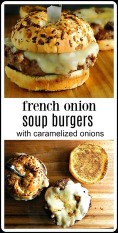 burger recipes Youre going to go crazy over French Onion Soup Burgers topped with caramelized onions and Provolone or Gruyere cheese. Stovetop or Grill. Plus a shortcut method to get real caramelized onions! Cheese Burger Soup Recipes, Meat Recipes, Gourmet Recipes, Dinner Recipes, Cooking Recipes, Stuffed Hamburger Recipes, Recipes With Onion Soup, Onion Soup Hamburger Recipe, Recipe With Onions