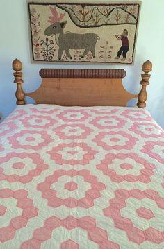 "Antique Vintage ""Grandmother's Flower Garden"" Quilt Mint C. 1920 71"" X 80"""