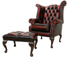 Gramps's Chesterfield Queen Anne antique red leather chair and stool