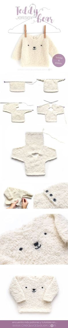 Jersey de bebé de punto – Teddy Baby Sure, this one is knitting, but again with the actual item shown it just makes piecing things together, and understanding construction, easier. Into my Crochet how-to it goes! Baby Knitting Patterns, Knitting For Kids, Loom Knitting, Baby Patterns, Free Knitting, Knitting Projects, Crochet Patterns, Simple Knitting, Knitting Machine