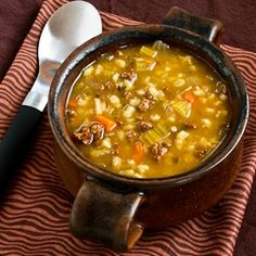 Recipe for Comforting Ground Beef and Barley Soup (and Happy Birthday to Rand!) [from KalynsKitchen.com]