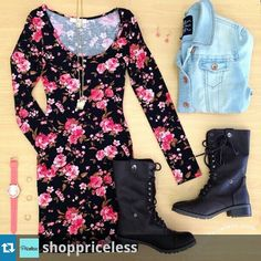 Spring floral dress with jean jacket and combat boots