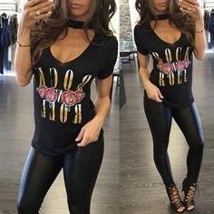 Fashion Punk Style Choker Neck Print T-shirt