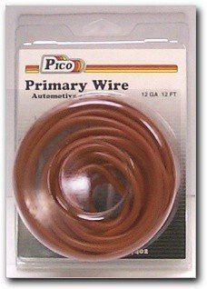 Pico 81126PT 12 AWG Brown Primary Wire 12' per Package by Pico. $4.95. Single Conductor copper stranded primary wire with the highest quality polyvinyl chloride insulation providing the best in flexibility, permanent color and resistance to acids, grease, oil and diesel fumes. Primary wire is manufactured to meet all SAE Type J1128 specifications and will work safely between the operating temperatures of -40°F and 165°F.