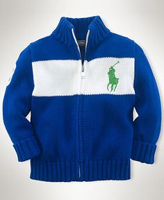 Ralph Lauren Baby Sweater, Baby Boys Aran Cable Shawl-Collar ...