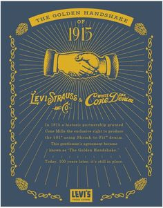 Golden Handshake - for 100 years Levi's & Cone mills relations Japanese Denim, Levi Strauss & Co, Raw Denim, Vintage Levis, Vintage Outfits, Vintage Clothing, Fashion Branding, Levis Jeans, Zapatos