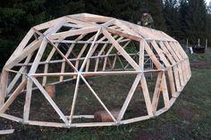 Monolithic Dome Homes, Geodesic Dome Homes, Backyard Barn, Backyard Greenhouse, Building A Pergola, Building Design, Geodesic Dome Greenhouse, Cool Sheds, Hostels