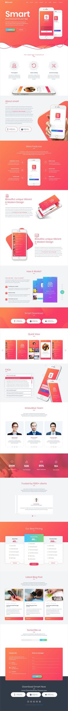 Smart is clean and modern design responsive bootstrap HTML #template for creative app #landingpage website with 13 unique homepage layouts to live preview & download click on image or Visit #webdesign