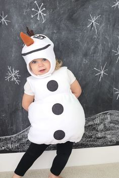 You've already seen Anna.… so the second part of the Frozen gang is, of course, Olaf the snowman! (er, snowtoddler) Sadie and Charlotte were insistent that Ava be Olaf for Halloween, and since she's n