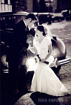 bride and groom with classic vintage car - wedding photography