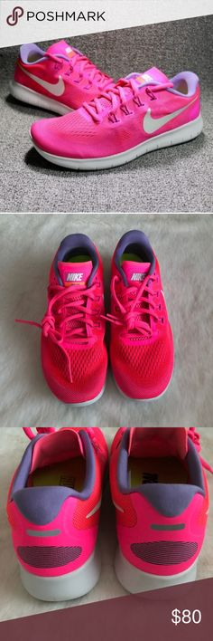 Nike Free Flyknit Pink Sneaker • New in box, no lid  • Flexible & lightweight  • Lavender detail   • Color is more similar to the first photo,  color looked darker in my photos due to lighting  • No trades Nike Shoes Sneakers