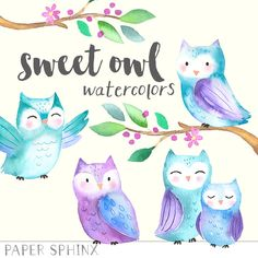 Baby Owls Watercolor Clipart - Hand painted printables - DIY greeting cards, Scrapbook, Digital Children's Clip Art, Nursery by PaperSphinx on Etsy https://www.etsy.com/listing/259357073/baby-owls-watercolor-clipart-hand