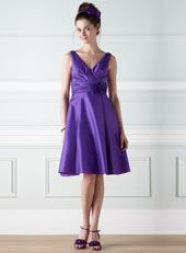 Cecily Purple Taffeta Bridesmaid Dress