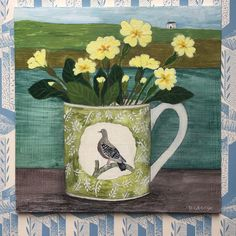 712 vind-ik-leuks, 94 reacties - Debbie George (@debbiegeorgepainter) op Instagram: ''Bawden cup and Primroses' one of a selection of new paintings which will be arriving…'