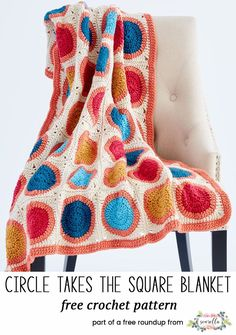 Crochet this easy circle to the square granny square rainbow afghan blanket throw with fringe from my 12 coziest crochet afghans free pattern roundup!