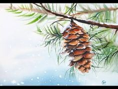 Easy Watercolors Pine cone Painting Tutorial - YouTube