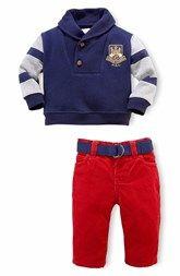 Ralph Lauren Shawl Collar Sweater & Corduroy Pants (Baby Boys)