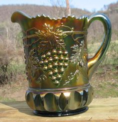 "NORTHWOOD   ""GRAPE & CABLE""   GREEN CARNIVAL GLASS WATER PITCHER"